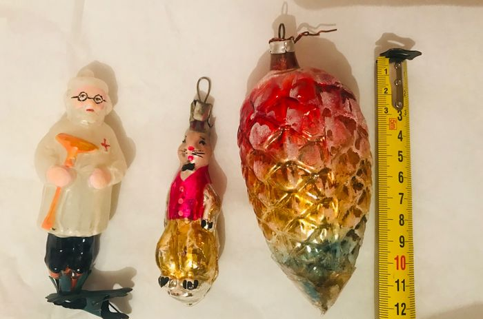 Figurine(s), Christmas baubles in antique glass Christmas baubles 1900/1940 (3) - Art Deco - Glass