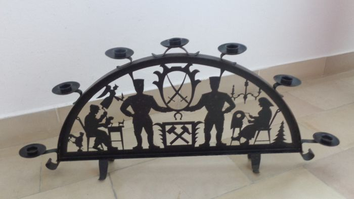 Candle arch / candle arch Schwarzenberger motif metal black 7 candle holder GDR (1) - metal