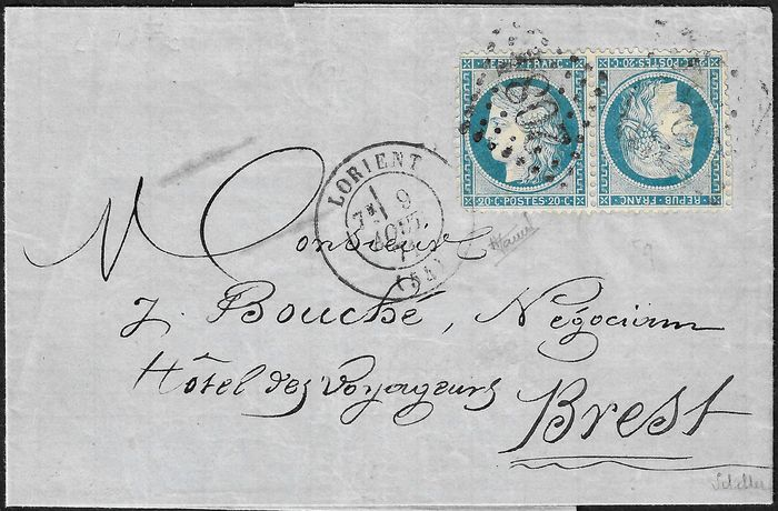 Frankreich 1870 - A superb tête-bêche issue of the Siege, 20 centimes blue on yellowish - Yvert 37d