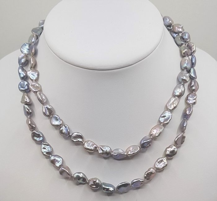 No reserve price - 925 Silver - 8x9mm Keshi Freshwater Pearls - Long Necklace