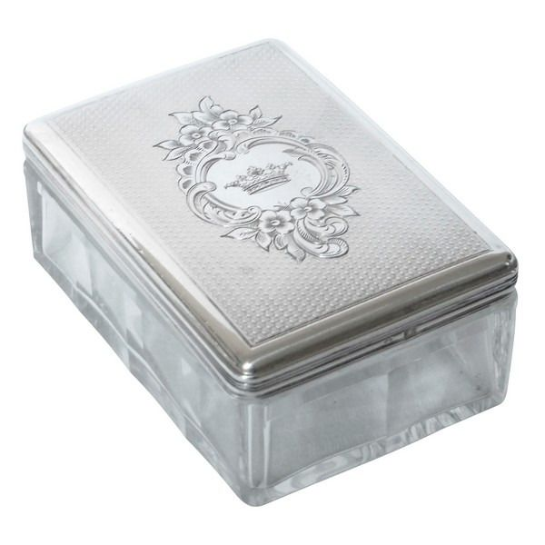 Baccarat - Silver mounted cufflink box, Marquis crown, around 1860 - .950 silver, Crystal