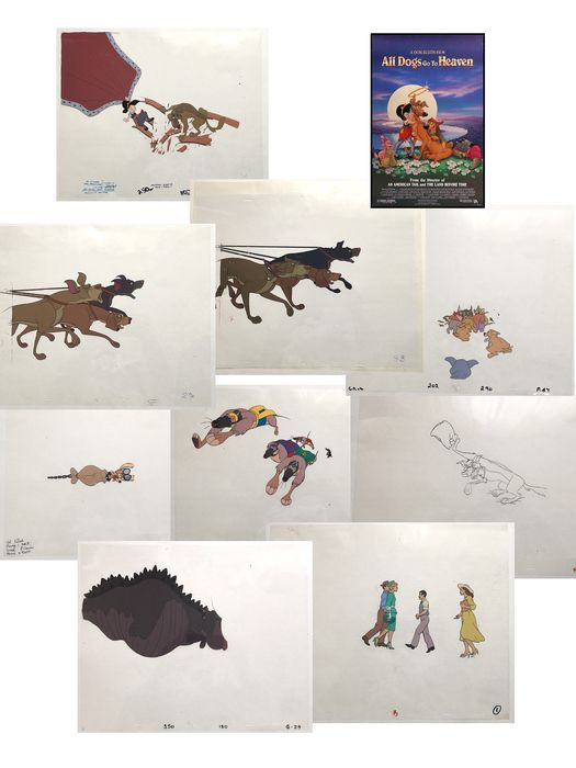 All dogs - 9 Original Production Cels and color models - All dogs go to heaven - Oorspronkelijk celluloid - (1989)