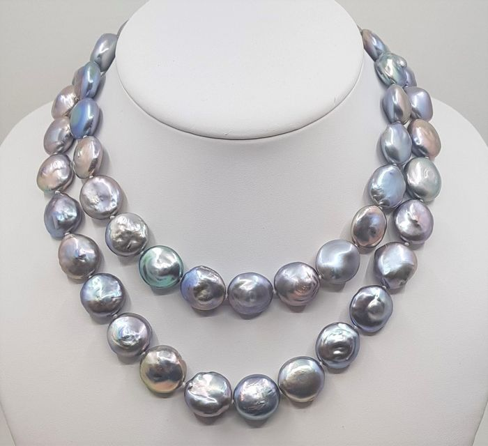 No reserve price - 925 Silver - 14x16mm Grey Cultured Pearls - Necklace