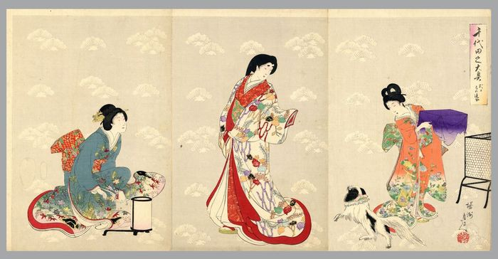"Original woodblock print triptych - Toyohara Yoshu Chikanobu (1838-1912) - Tsubone's Farewell on a Day of Ceremony - From the series ""Chioyda no ooku"" 千代田之大奥 (Chiyoda Castle) - Japan - 1895"