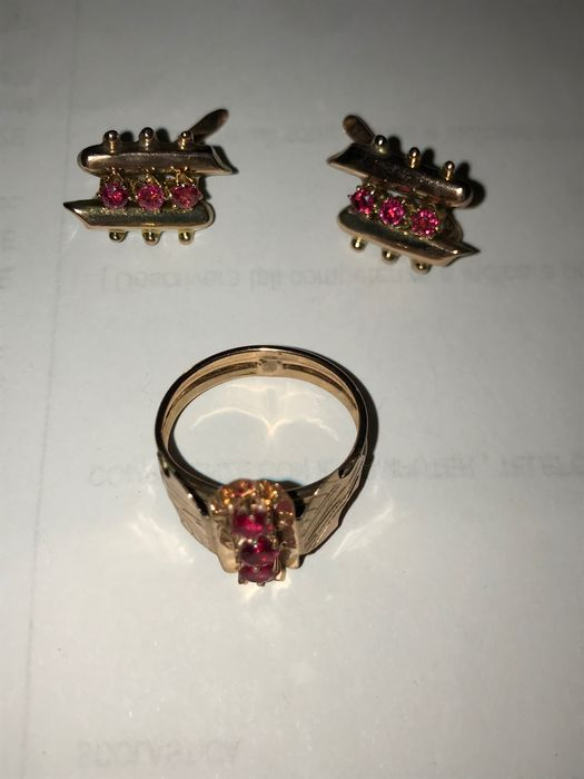 14 kt. Pink gold - Earrings, Ring - 0.60 ct Ruby