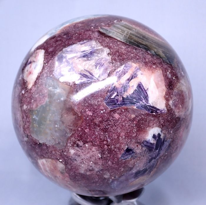Great Gorgeous Sparkling Lepidolite (Madagascar Charoite) Sphere - 120×120×120 mm - 2396.1 g