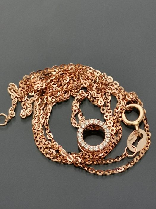 18 kt. Pink gold - Necklace with pendant, necklace ,pendant - Diamonds