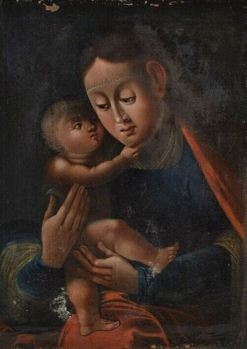 Baroque Madonna And Child - Oil On Canvas - 18th century