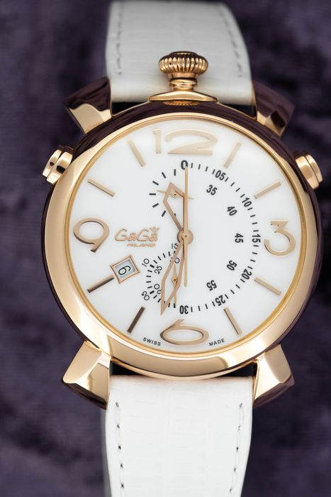 """GaGà Milano - Thin Chrono 46MM White Dial Rose Gold tone Italian Handmade Brown leather strap  Swiss Made - """"NO RESERVE PRICE"""" 5098.1 - Unisex - Brand New"""