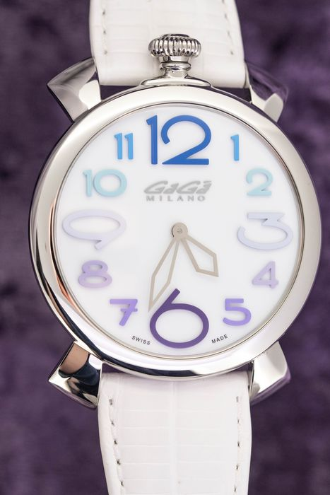 """GaGà Milano - Manuale Thin 46MM White Dial Colourful Hour Markers White Italian Hand Made Leather strap Swiss Made - 5090.14""""NO RESERVE PRICE"""" - Unisex - Brand New"""