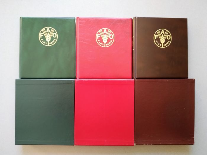 "Various countries - 3 FAO Albums ""FIAT PANIS"" Red, Dark Green, Brown 1981-1986 - Silver"