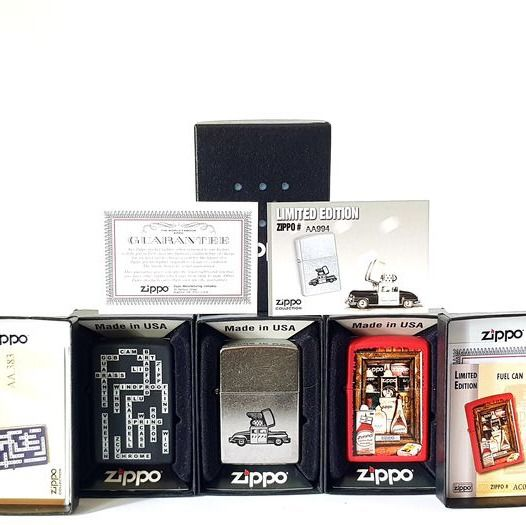 Zippo - CGB Crosswords Windproof Icon + Fuel Cans Seal Stamp + Flamable Car Grey - Limited Edition - 3