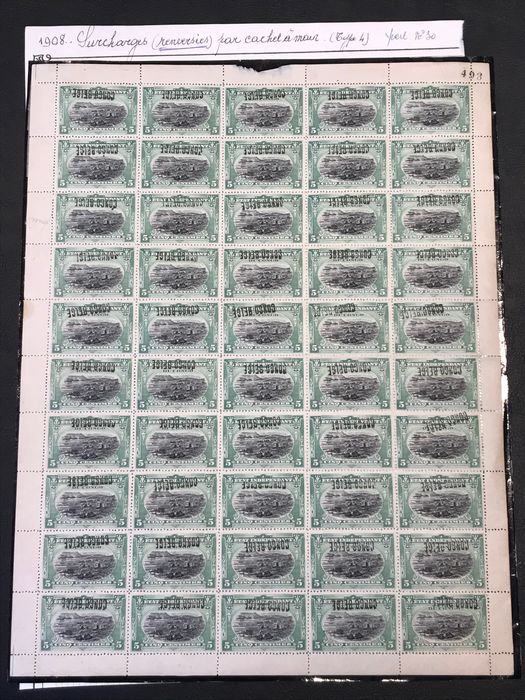 Belgian Congo 1909 - Issue Mols 10 centimes with local overprint 'Congo Belge' type 4 - Inverted - In a complete sheet - - OBP / COB 30L4-Cu