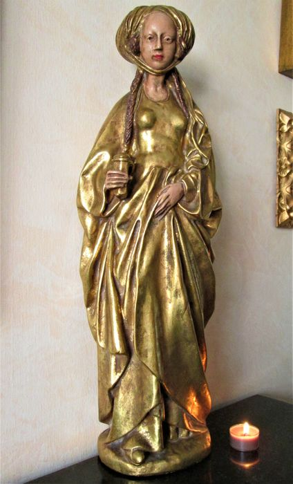 """Large Holy statue """"Mary Magdalene"""" - Gilt, Plaster - Late 19th century"""