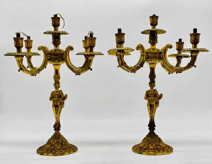 Pair of Troubadour Candle Holders - Bronze (gilt/silvered/patinated/cold painted)