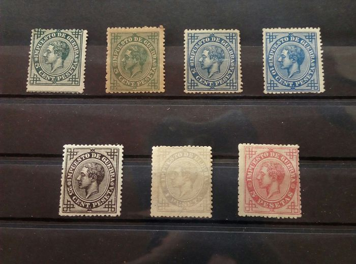 Spanien 1876 - Alfonso XII. Complete set, War tax + colour error and postal forgery - Edifil 183/187
