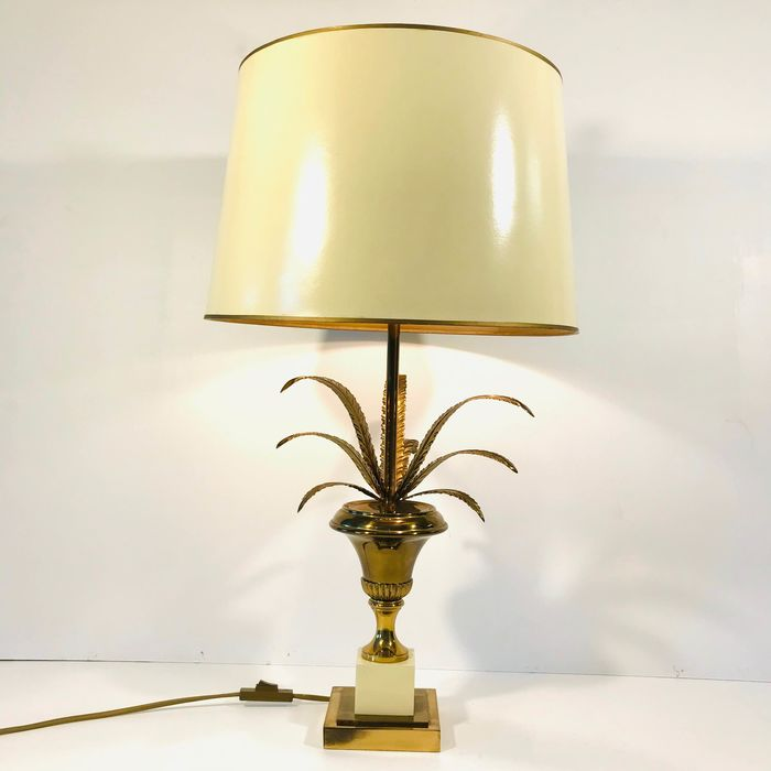 S.A. Boulanger - Hollywood Regency style palm d'or table lamp circa 1970