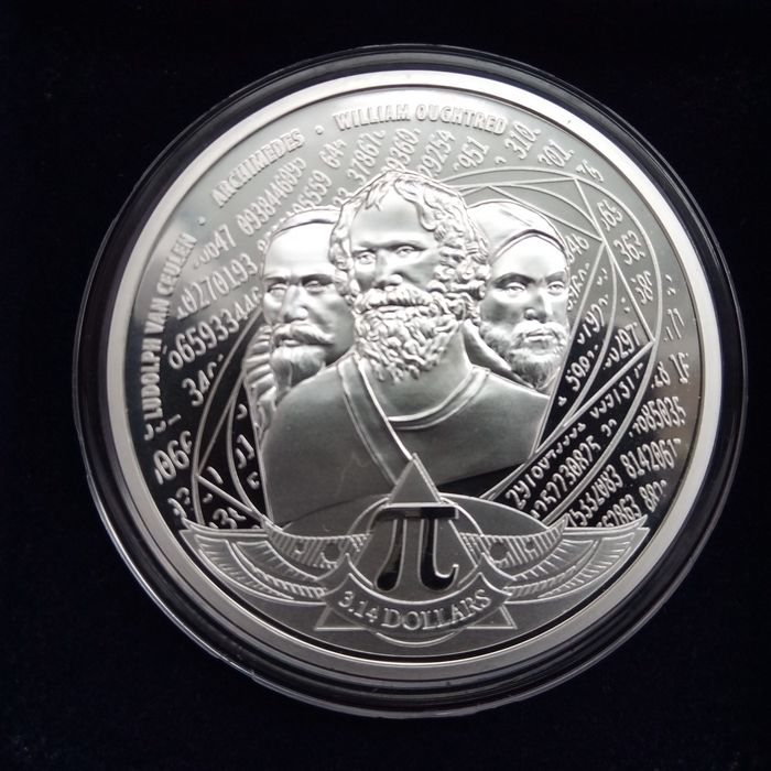 Silver Coin in direct fit capsule π = 3.14 2020 Solomon Islands Number Pi
