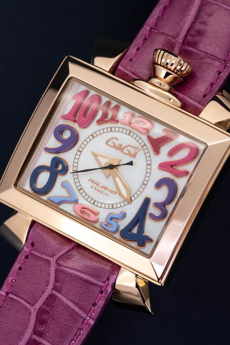 GaGà Milano - Automatic Napoleone Collection White Mother of Pearl Dial Hot Pink Handmade Italian Leather Strap - 6001.01 - Heren - Brand New