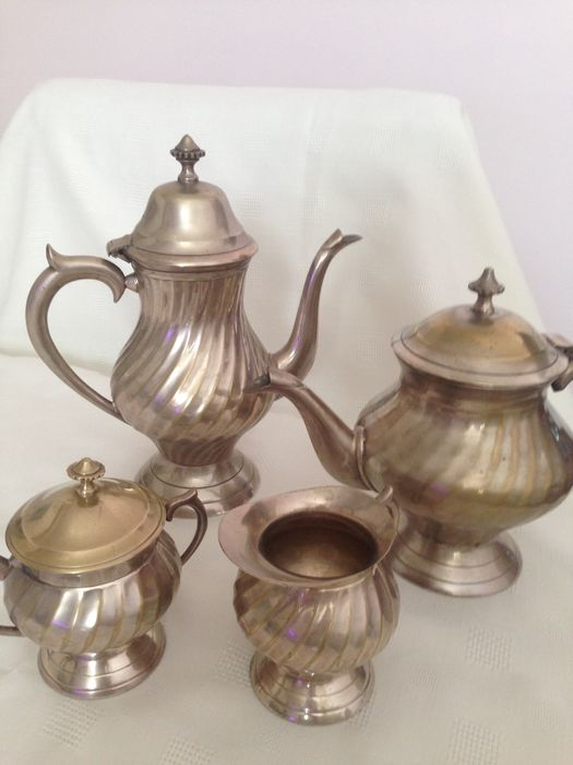 Tea set (4) - Brass, Silverplate