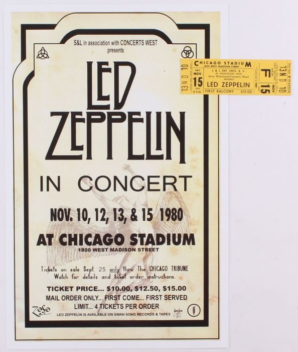 Led Zeppelin - Original Ticket & Re-Print Concert Poster - Official (concert) ticket, With Certificate of Authenticity - 1980/1980