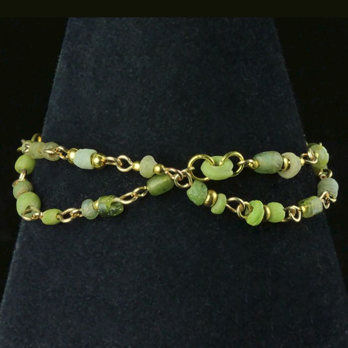 Ancient Roman Glass Bracelet with green glass beads - (1)