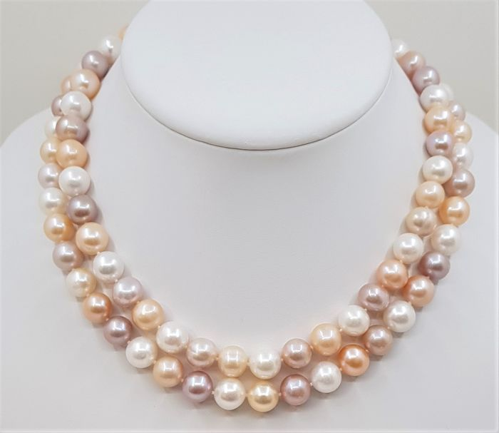 No reserve price - 925 Silver - 10x11mm Multi Color Pearls - Long Necklace