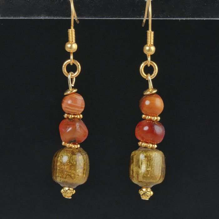 Ancient Roman Glass Earrings with gold foil glass and carnelian beads - (1)