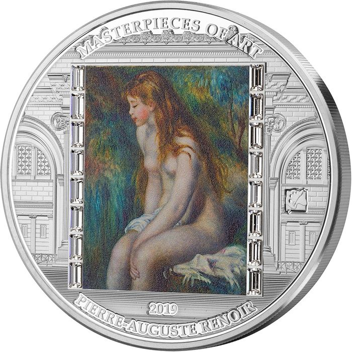 "Cook Islands - 20 Dollar  - 2019 - ""YOUNG GIRL BATHING"" - Ragazza Masterpieces of Art  - 3 Oz - Silver"