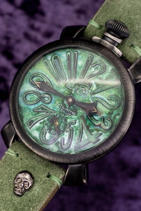 GaGà Milano - Mechanical Manuale 48MM Vintage Collection Swiss Made Green Handmade Italian Suede- Leather Strap - 5012-VINTAGEGR - Unisex - Brand New