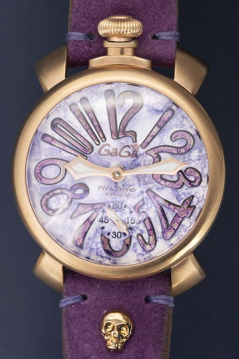 GaGà Milano - Mechanical Manuale 48MM Vintage Collection Swiss Made Violet Handmade Italian Suede/ Leather Strap - 5011-VINTAGE-VT - Unisex - Brand New