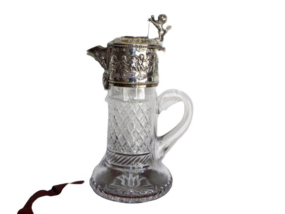 Silver-mounted crystal jug - .925 silver - Topazio - Portugal - Early 20th century
