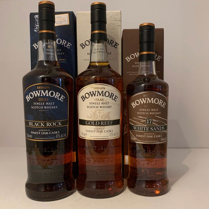 Bowmore Black Rock - Gold Reef - White Sands 17 years old (Travel Retail Range) - Original bottling - 70cl & 100cl - 3 bottles
