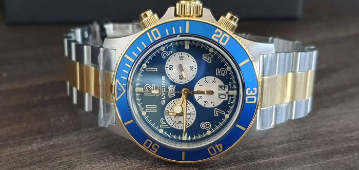 Glycine - Dive professional army military combat gold plated and steel   + free omega james bond style strap - Men - 2011-present