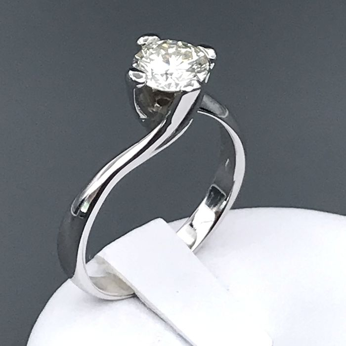 18 karaat Witgoud - Ring - 0.99 ct Diamant