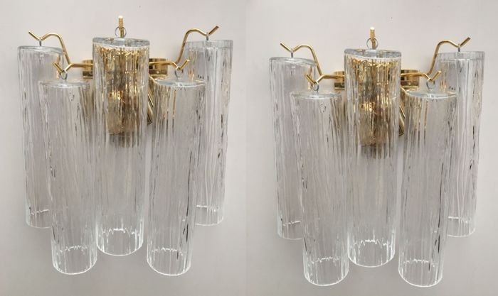 "Wall sconces pair ""pipe"" glass (2)"