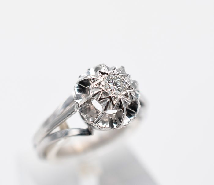 18 kt. White gold - Ring - 0.23 ct Diamond
