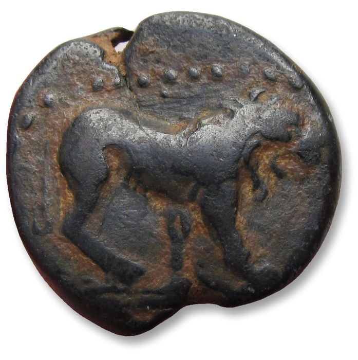 République romaine - AE 22mm provincial unit, struck under P. Ventidius Bassus and Marcus Antonius. Commagene, Samosata 40 -38 B.C. - rare cointype, with auction ticket - Bronze