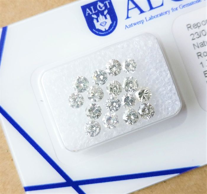 16 pcs Diamonds - 1.78 ct - Round - e-h - I1-I2