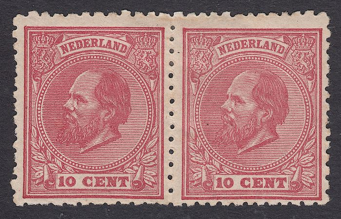 Netherlands 1872 - King Willem III, combination pair - NVPH 21E + 21D