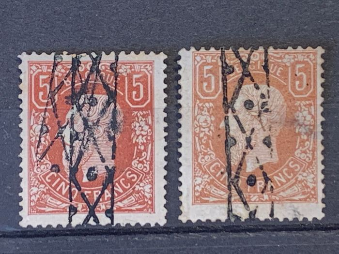 Belgium 1869/1883 - Leopold II 5 francs OBP 37 and 37A with roll cancel - OBP / COB 37+37A