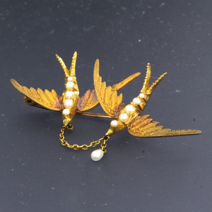 15 kt. Yellow gold - Brooch Pearl