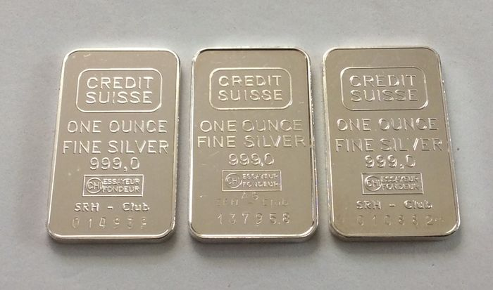 3 x 1 troy ounce (31.1 g) - Silver .999 - Credit Suisse