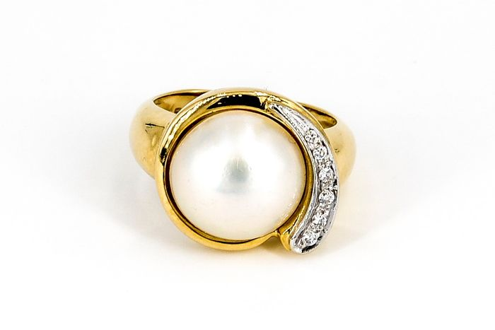 18 kts. Mabe pearl, Yellow gold, 18 mm - Ring Diamond - Diamond