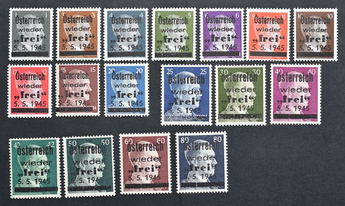 "Austria - local edition Losenstein 1945 - 1 to 80 reichspfennigs - the ""Small Set"" - edition of 400 sets - signed by Wallner"