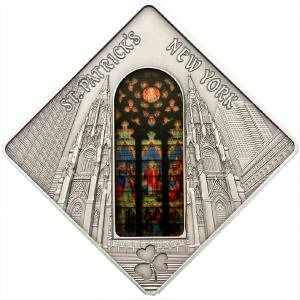 Palau - 10 Dollar 2011 Sacred Art Holy Windows ST. PATRICK'S CATHEDRAL NEW YORK 50g - Silver