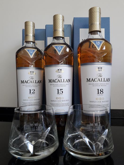 Macallan 12 years - 15 years - 18 years Triple Cask Matured and 2 x Chevron Tumbler glass - Original bottling - 70cl - 3 bouteilles
