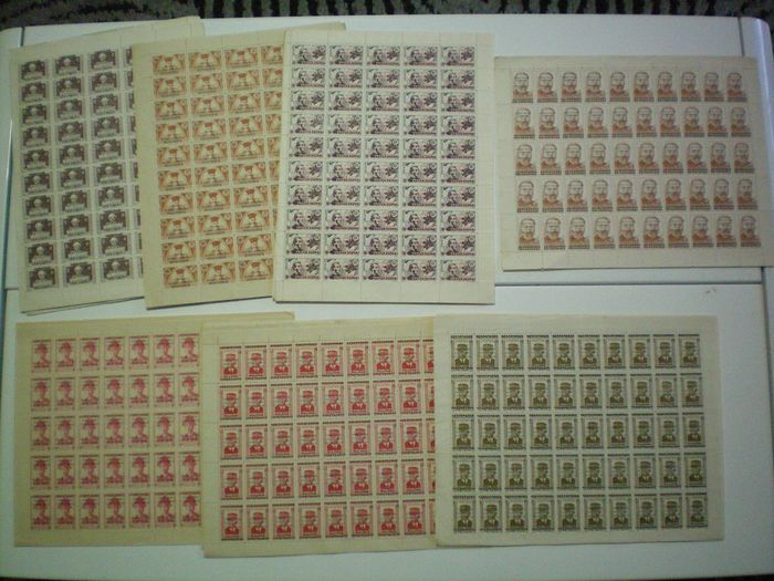Vietnam 1945/1946 - Lot of 36 whole sheets of 50 stamps from Vietnam, mint without gum, with overprint.