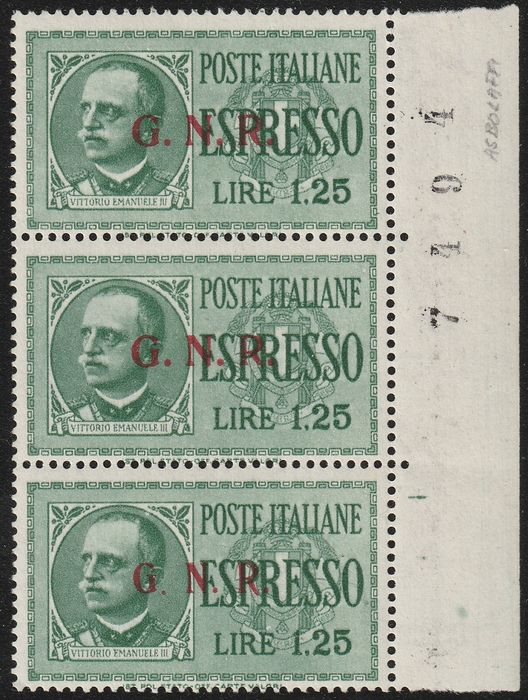 Republican National Guard - Expressed 1944 - 1.25 l. vertical triptych, the 2 pieces, issue of Brescia 2nd type + 1 piece issue of Brescia 3rd - Sassone N.19/II-III