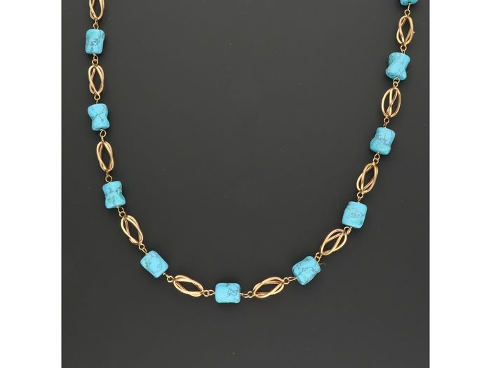 18 kt. Gold - Necklace Turquoise